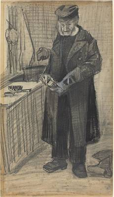Old Boots Drawing - Man Polishing A Boot by Vincent van Gogh