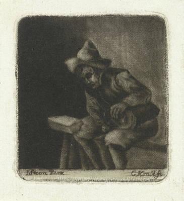 Pour Drawing - Man Pours Himself A Glass Of Liquor, Print Maker Gerrit Kons by Gerrit Kons? And Jan Havicksz. Steen