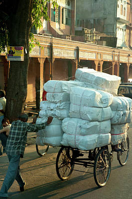Man Pushing An Overloaded Cart, Jaipur Art Print