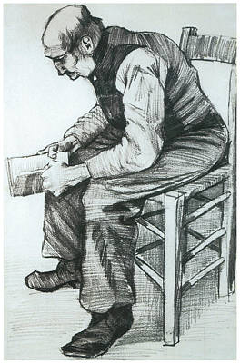 Man Sitting In A Chair Reading Drawing - Man Reading The Bible by Vincent van Gogh