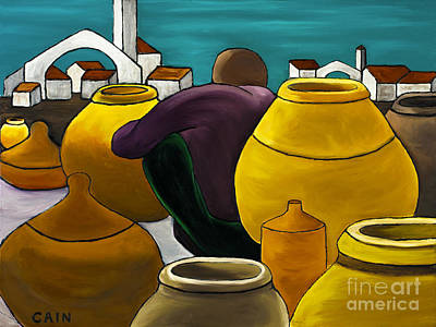 Man Selling Pots Art Print