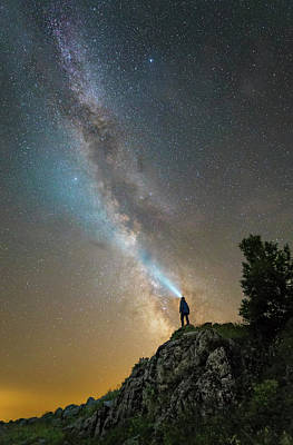 Man Shining A Flashlight On The Milky Art Print