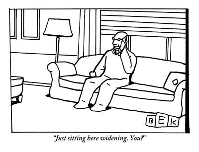 Lazy Drawing - Man Sits In Chair In Living Room Talking On Phone by Bruce Eric Kaplan