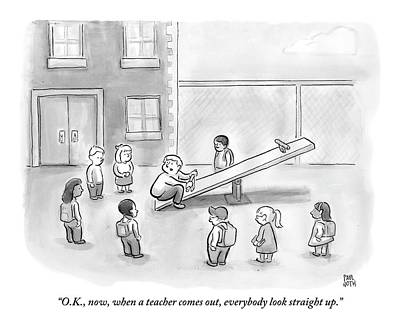 Playground Drawing - Man Sits On See-saw And Speaks To Cluster by Paul Noth