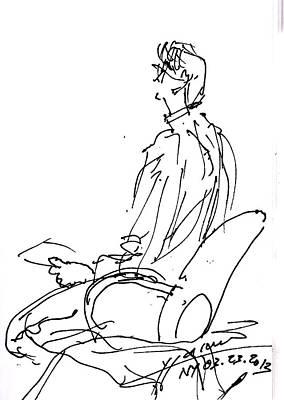 Sitting Drawing - Man Sitting   by Ylli Haruni