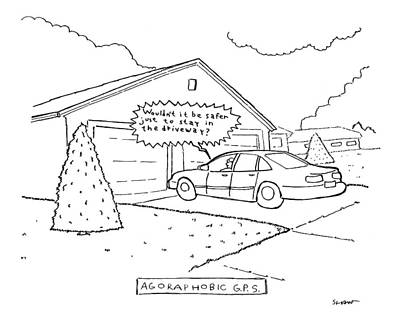 Speech Drawing - Man Sitting In His Car In The Driveway by Michael Shaw