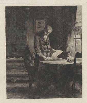 Able Drawing - Man Skimming Through A Book, Willem Steelink II by Willem Steelink (ii)