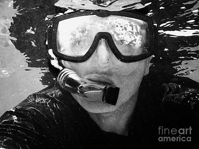 Man Snorkeling With Mask And Snorkel In Clear Water Dry Tortugas Florida Keys Usa Art Print by Joe Fox