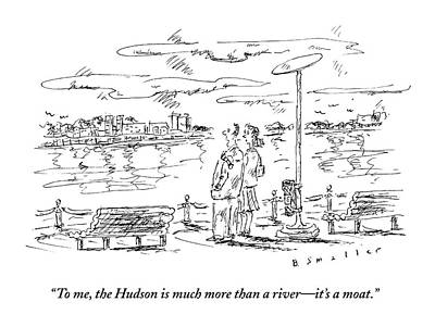 Hudson River Drawing - Man Speaks To Woman As They Look by Barbara Smaller