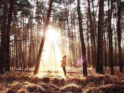 Branch Photograph - Man Standing In The Forest by Steven Ritzer / Eyeem