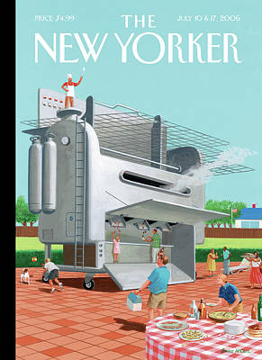Grill Painting - Man Stands On His Massive Bbq Grill Which Outputs by Bruce McCall