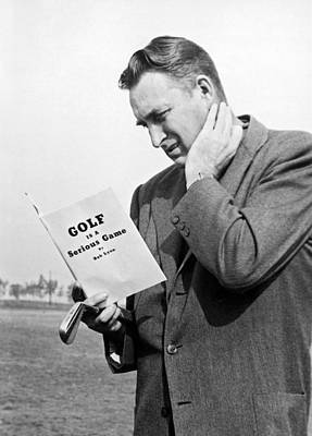 Golf Course Books Photograph - Man Studying A Golf Book by Underwood Archives