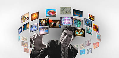 Electronics Photograph - Man Surrounded By Imagery by Panoramic Images