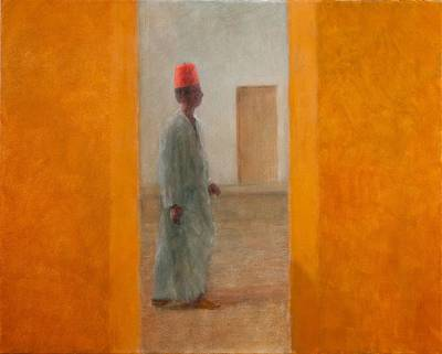 Moroccan Photograph - Man, Tangier Street, 2012 Acrylic On Canvas by Lincoln Seligman