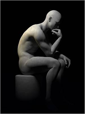 Art Print featuring the digital art Man Thinking... by Tim Fillingim