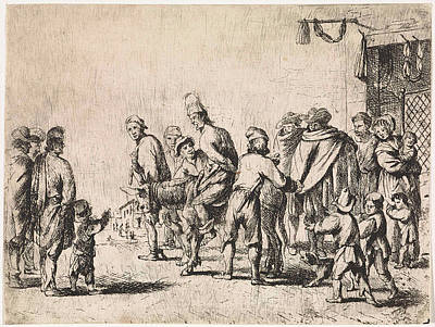 Wall Hanging Drawing - Man Tied Up On A Donkey, Print Maker Cornelis De Wael by Cornelis De Wael