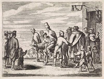 Wall Hanging Drawing - Man Tied Up On Donkey, Cornelis De Wael by Cornelis De Wael