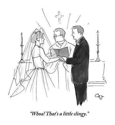 Altar Wall Art - Drawing - Man To Wife During Wedding Vows by Carolita Johnson