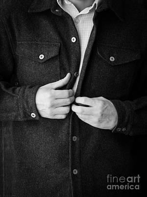 Unbuttoned Photograph - Man Unbuttoning His Shirt by Edward Fielding
