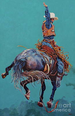 Rodeo Painting - Man Up by Patricia A Griffin