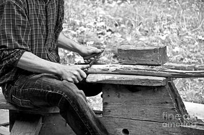 Photograph - Man Using Pioneer Draw Knife On Wood by Valerie Garner