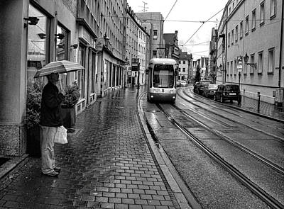 Photograph - Man Waiting For Augsburg Tram by Robert Meyers-Lussier