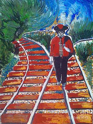 Man Walking On Rails Art Print by Ivan Ivanov