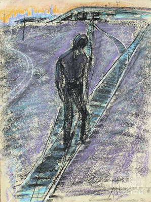 Surrealism Royalty-Free and Rights-Managed Images - Man Walking on Surreal Train Tracks by Asha Carolyn Young