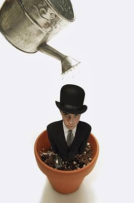 Clay Flower Pots Photograph - Man Wearing Suit In Flower Pot About To by Darren Greenwood