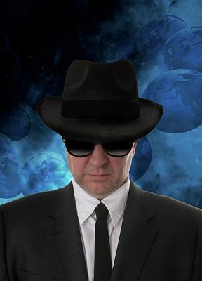 Man Wearing Sunglasses And Black Hat Art Print by Victor Habbick Visions