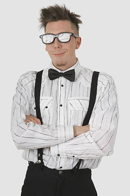 Button Down Shirt Photograph - Man Wearing Sunglasses Suspenders And by Stock Foundry