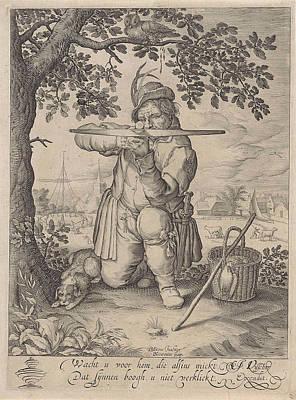 Head Shot Drawing - Man With A Crossbow, Pieter Serwouters by Pieter Serwouters And Claes Jansz. Visscher Ii