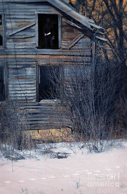 Man With A Knife In Dilapidated House Print by Jill Battaglia