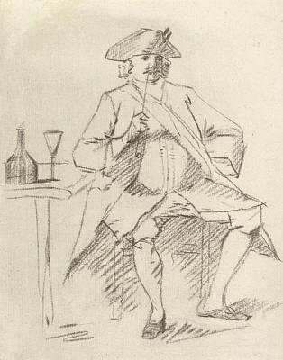 Glass Bottle Drawing - Man With A Pipe Sitting At A Table, Cornelis Van Noorde by Cornelis Van Noorde And Cornelis Troost