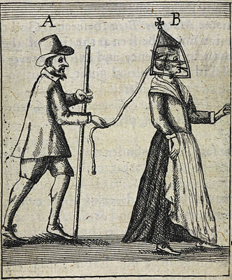 Man With A Woman On A Lead Art Print by British Library
