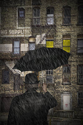 Photograph - Man With An Umbrella Standing In The Rain by Randall Nyhof