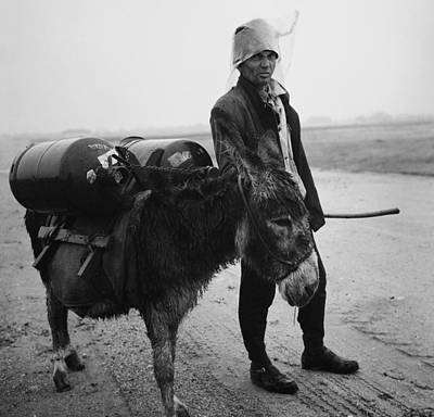 Photograph - Man With Donkey In Communist Romania by Emanuel Tanjala