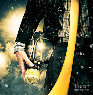 Photograph - Man With Gas Mask. New Beginning. Skys The Limit by Jorgo Photography - Wall Art Gallery
