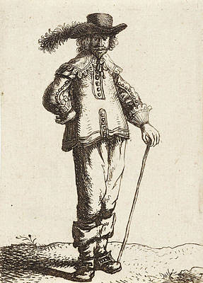 Hip Drawing - Man With Hat And Cane by Jan Gillisz. Van Vliet