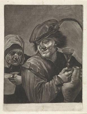 Wine-glass Drawing - Man With Jug And Wine Glass, Variant A, Jan Van Der Bruggen by Jan Van Der Bruggen