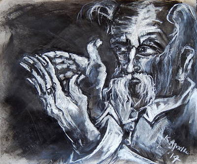 Drawing - Man With Messianic Hands by Kenneth Agnello