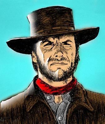 Khan Mixed Media - Clint Eastwood by Salman Ravish