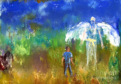 Painting - Man With Tall Angel by Arthur Robins