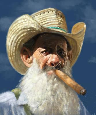 Old Man Digital Art - Man With The Cigar by Arie Van der Wijst