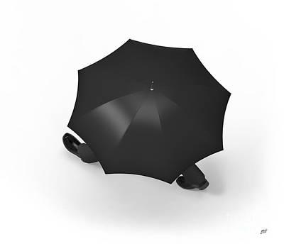 Individuality Digital Art - Man With Umbrella Walking by Bruno Haver