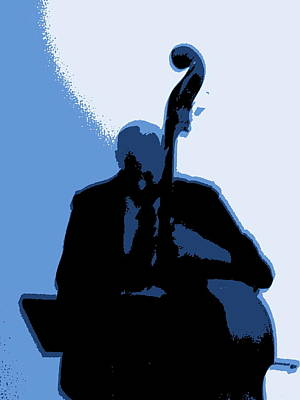 Man With Upright Bass In Blue Art Print by Mike McCool