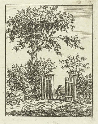 Fence Drawing - Man With Wheelbarrow Walking Through A Fence by Anthonie Van Den Bos