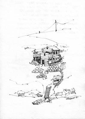 Maine Coast Drawing - Manana Hermitage by Richard Wambach