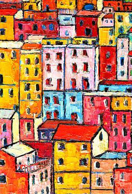 Manarola Painting - Manarola Cinque Terre Italy Painting Detail 2 by Ana Maria Edulescu
