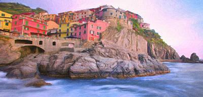Digital Art - Manarola On The Mediterranean by Walter Colvin